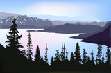 Fototapety lake in mountain forest under blue sky