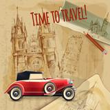 Europe Travel Car Vintage Poster