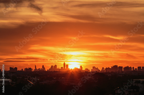 Foto op Canvas Baksteen Sunset at city of Bangkok with building silhouette