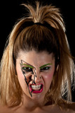 Girl with Lightning Makeup Making Scary Scowl poster