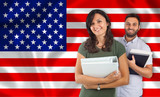 Fototapety Couple of students over United States flag