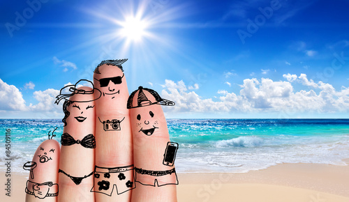 fingers family on the beach - summer holiday