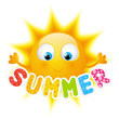 Vinilo - Cartoon Sun with summer word