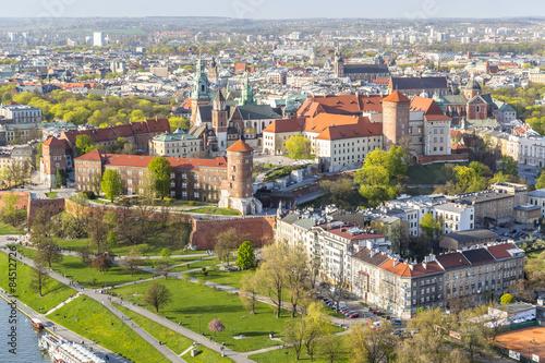 Panorama of beautiful Krakow, former capital city of Poland, Eur