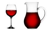 Bicchiere di vino rosso con caraffa