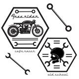 Fototapety Set of vintage motorcycle labels, old school design.