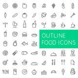 Outline food icons set for web and applications