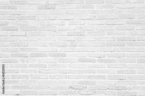 White grunge brick wall texture background - 84520930