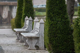 Detail view of the beautiful stone benches on the Imperial Plaza (Praca do Imperio) located in Lisbon - Portugal.
