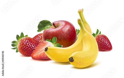 Banana, apples and strawberry 4 isolated on white background