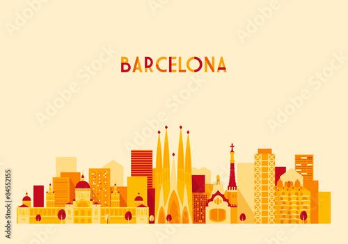 Zdjęcia na płótnie, fototapety, obrazy : Barcelona Spain Big City Skyline Vector Flat Style