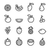 Fototapety fruit icon set, line version, vector eps10