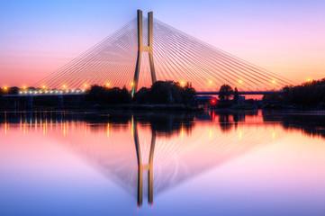 Fototapeta Wrocław most o zachodzie słońca