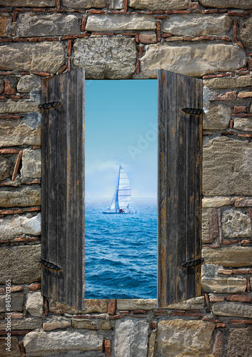 Poster Sailing Boat and ocean Landscape