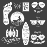 Surfer vector set. Vintage elements and labels.