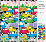 Fototapety Spring or summer traffic jam picture puzzle: Find the ten differences between the two pictures of cars and trucks on the road, trees in blossom, fresh green forest. Answer included.