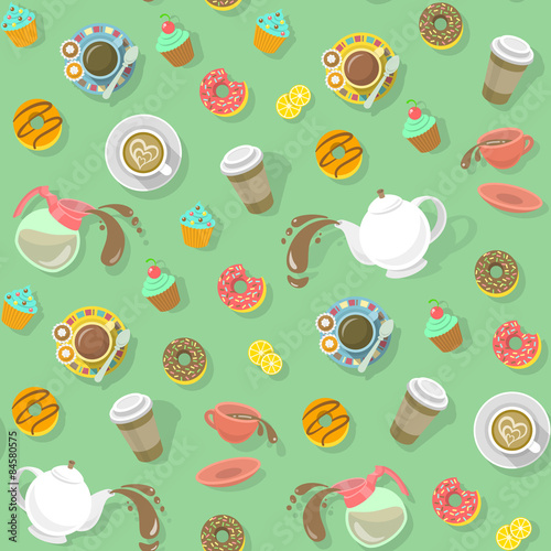 Cotton fabric City Cafe Pattern