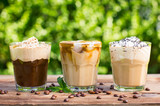Fototapety Ice coffee with milk and whipped cream