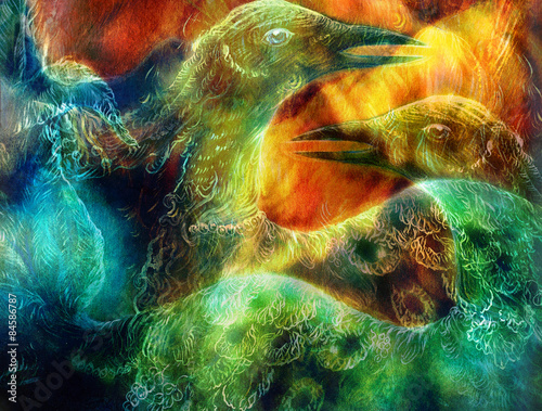 the phoenix bird collage. плакат