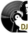 Silhouette of a DJ wearing headphones
