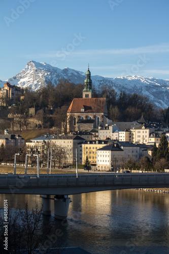 Foto op Aluminium Bergen Church in Salzburg with the Alps, Austria, 2015