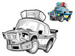 Cartoon police car - caricature - coloring page