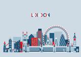 Fototapety London, England City Skyline Vector. Flat Trendy.