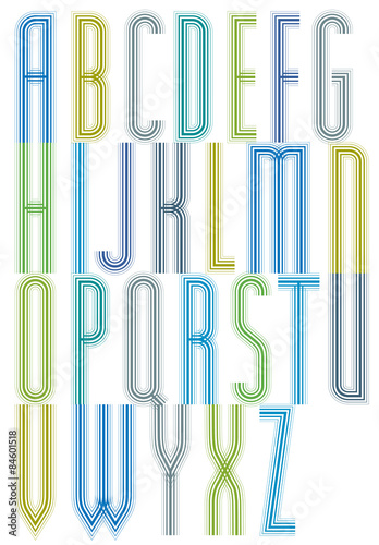 poster of Colorful geometric decorative splicing font, letters for greetin