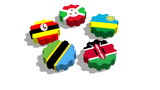 East African Community EAC association of five national economies members flags on gear poster