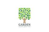 Green Tree Logo Square shape design vector template...Eco Farm L - 84629370