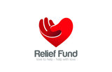 Heart Hand Logo Relief Fund vector design template...Take my Hea - 84629378