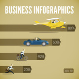 Vector business info graphic set with rivalry businessman poster