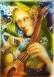 Elven man face with green hair, pearls playing a string instrument