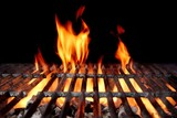 Fototapety Hot Empty Charcoal BBQ Grill With Bright Flames