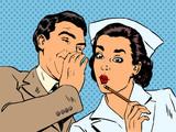 Fototapety diagnosis patient nurse and male gossip surprise conversation st