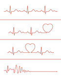 Set of various cardiogram lines. Cardiogram lines of healthy heart and heart stop