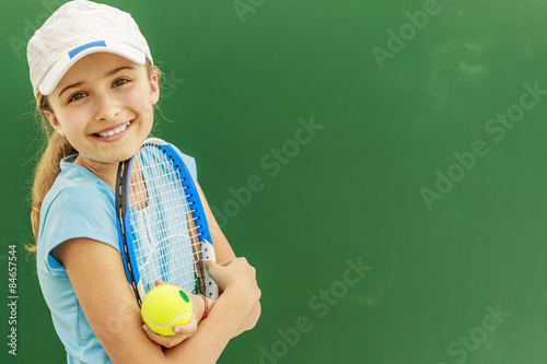 Plexiglas Tennis Tennis - beautiful young girl tennis player
