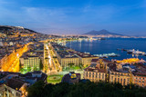 Naples, Italy, view of the bay and Vesuvius Volcano by night, from Posillipo