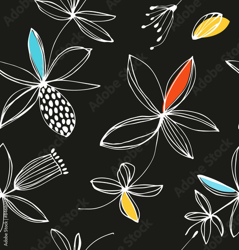 Decorative colorful floral seamless pattern. Vector summer background with cute flowers © silmen