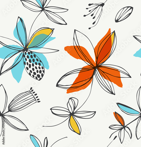 Vector summer background with graphic flowers © silmen