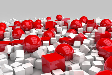White and red balls and cubes. 3D render image. © marinv