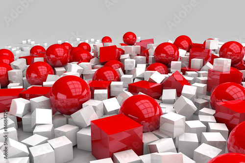 White and red balls and cubes. 3D render image.