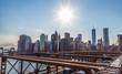 New York downtown skyline from brooklyn bridge