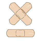 Fototapety Vector Cartoon Bactericidal Plaster. Single and Cross.