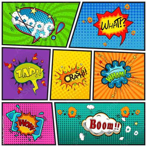 Comic speech bubbles background divided by lines vector