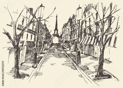 Streets Paris France Vintage Engraved Hand Drawn