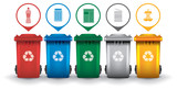 Fototapety Colorful recycle trash bins with garbage icons vector set