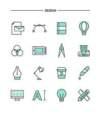 set of flat design, thin line designer's tools icons