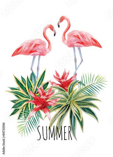 flamingo and tropical plants watercolor print