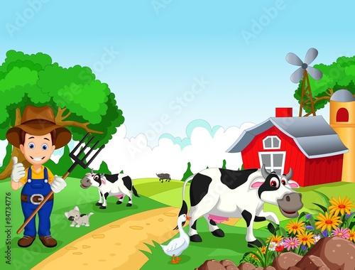 Fotobehang Boerderij Farm background with farmer and animals